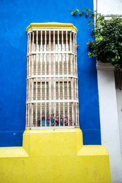 Blue and yellow house in old city Cartagena