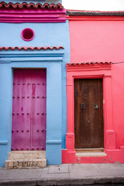 Blue and pink houses in old city Cartagena
