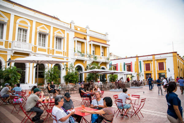 Town square in old city Cartagena