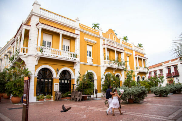 Historic yellow building in Cartagena