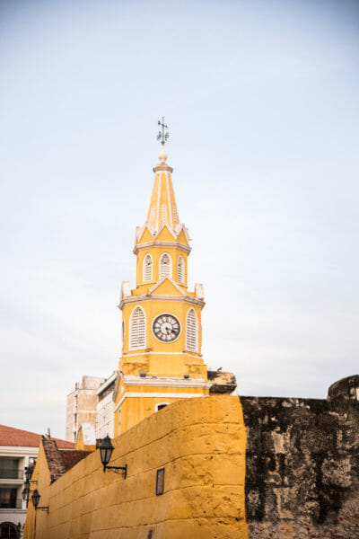 Yellow clock tower in Cartagena