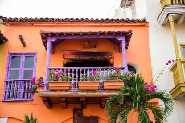 Orange house in old city Cartagena