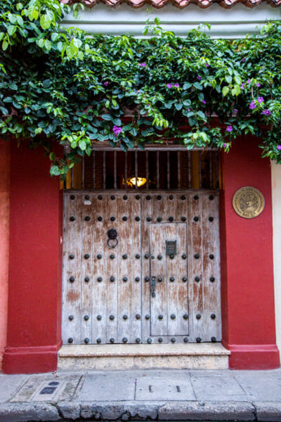 Historic red house in old city Cartagena
