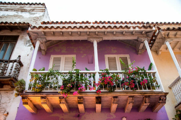 Historic purple houses in old city Cartagena