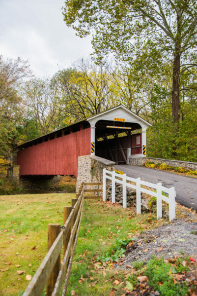 Red covered bridge in Lancaster, PA