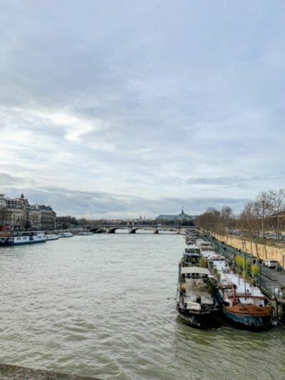 Boats on river in Paris