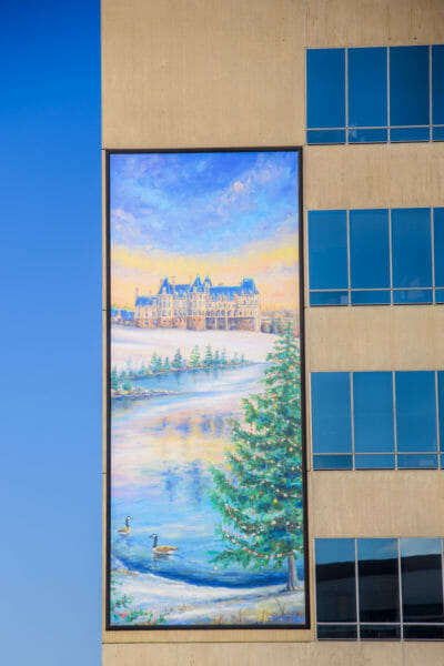 Painting of the Biltmore during winter in Asheville