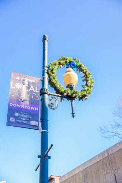 Lamppost with Christmas wreath in Asheville
