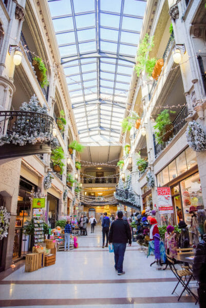 Grove Arcade decorated for Christmas in Asheville
