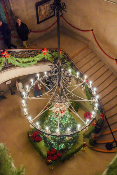Christmas tree by the staircase in the Biltmore