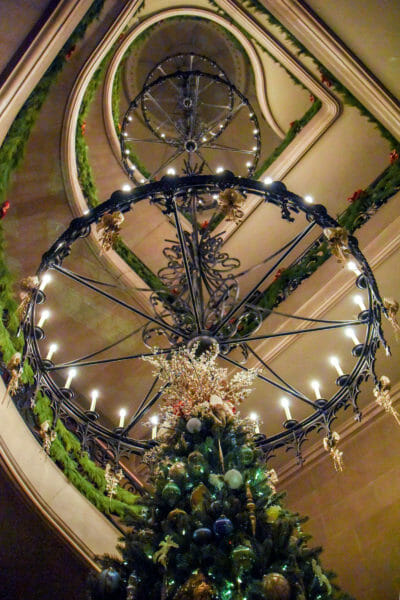 Christmas tree and staircase chandelier in the Biltmore