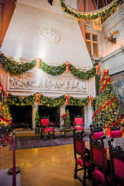 Dining room in the Biltmore decorated for Christmas