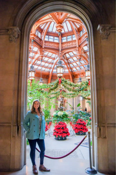 Winter garden decorated for Christmas in the Biltmore