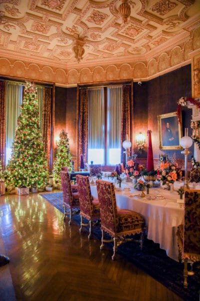 Breakfast room decorated for Christmas in the Biltmore