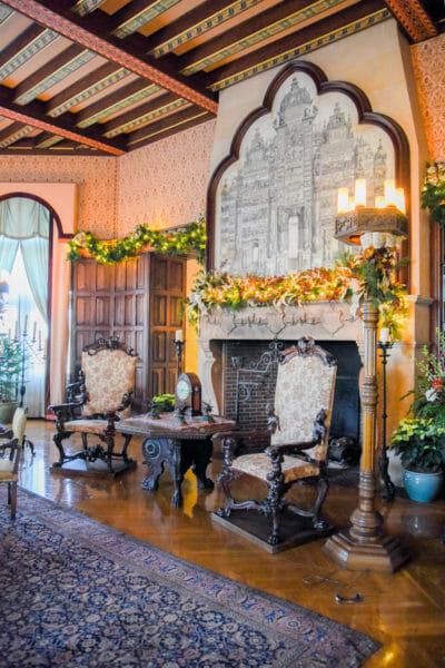 Living room decorated for Christmas in the Biltmore