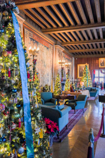 Hallway decorated for Christmas in the Biltmore