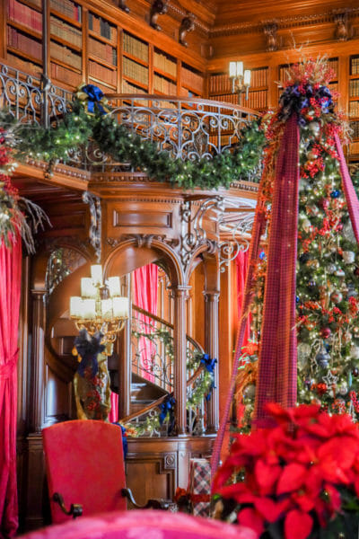 Library decorated for Christmas in the Biltmore
