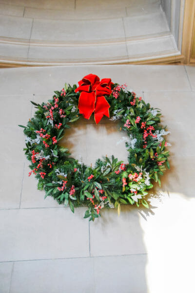 Christmas wreath on the Biltmore