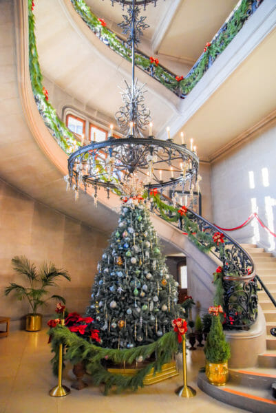 Christmas tree in the staircase in the Biltmore
