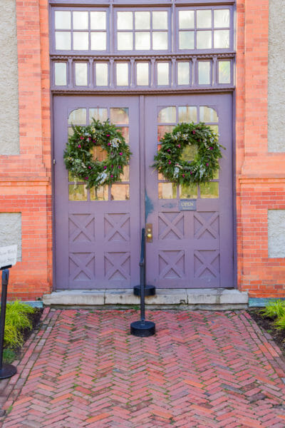 Christmas wreaths on the greenhouse doors at the Biltmore