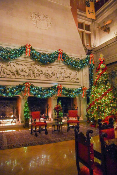 Christmas light decorations in the Biltmore