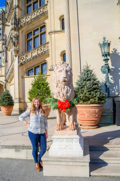 Lion statue with Christmas wreath outside the Biltmore