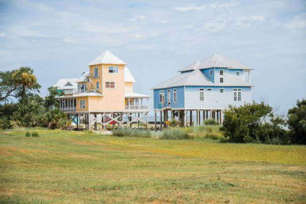 Orange and blue beach houses on Daufuskie Island