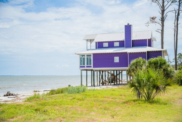 Purple beach house on Daufuskie Island