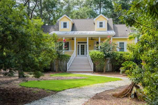 Yellow beach house with front porch on Daufuskie Island