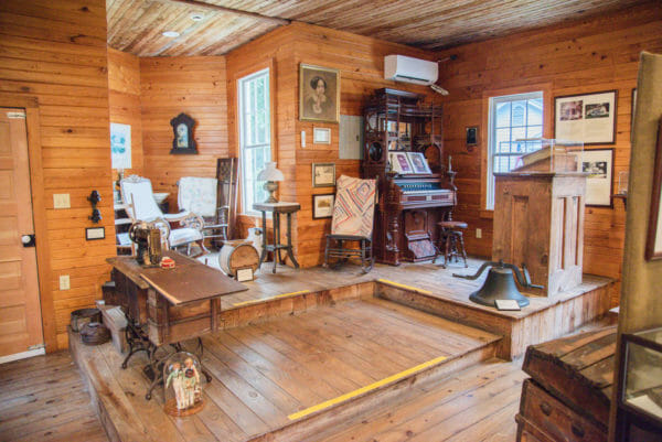 Organ and artifacts at the Daufuskie Island History Museum