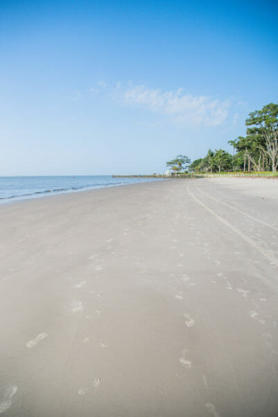 Footprints on beach at Daufuskie Island