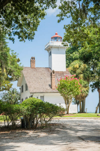 White wooden lighthouse with red roof on Daufuskie Island