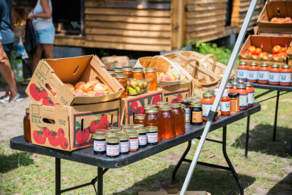 Peaches and honey at farmer's market on Daufuskie Island