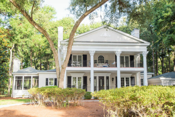 White Georgian style beach house with columns on Daufuskie Island