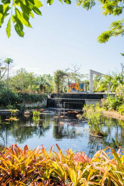 Manmade waterfall at Naples Botanical Gardens