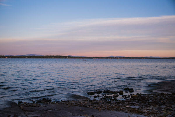 View of Lake Champlain at sunset