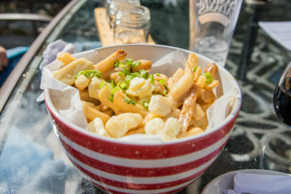 Bowl of poutine at Elf's Farm Winery in Plattsburgh, NY