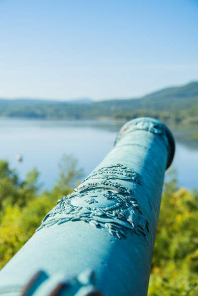 View of Lake Champlain and historic cannon from Fort Ticonderoga