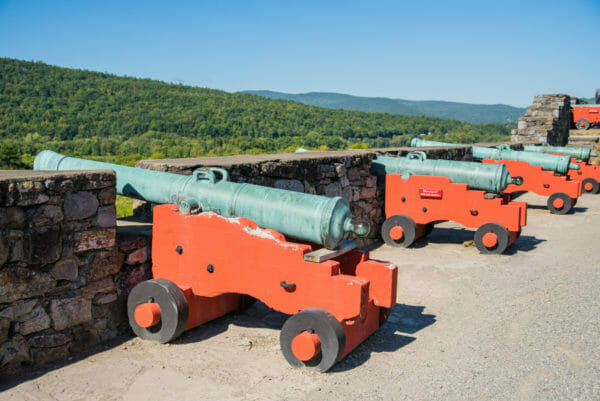 Row of cannons at Fort Ticonderoga
