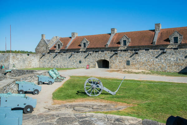 Interior of Fort Ticonderoga with stone wall and cannons