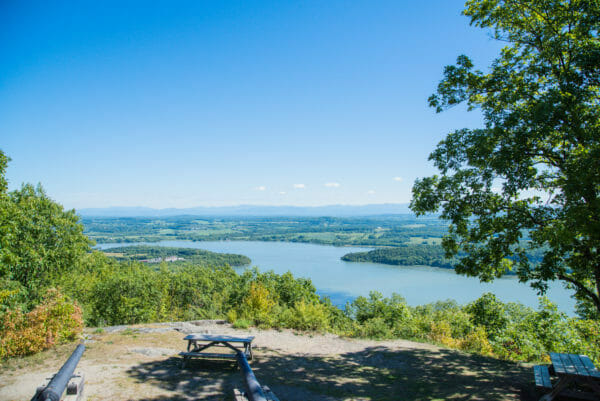 View of Fort Ticonderoga and Lake Champlain surrounded by trees