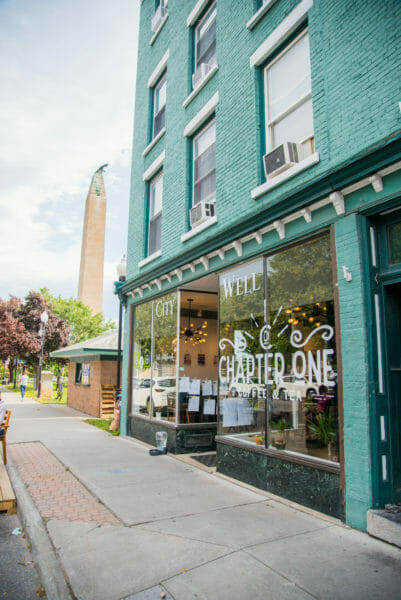Chapter One cafe in Plattsburgh, NY with blue brick walls