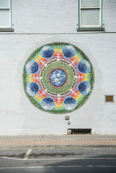 Colorful medallion mural in Plattsburgh, NY