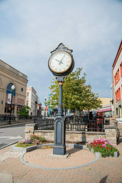 Blue clock in courtyard in Plattsburgh, NY