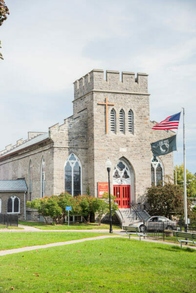 Historic stone church in Plattsburgh, NY