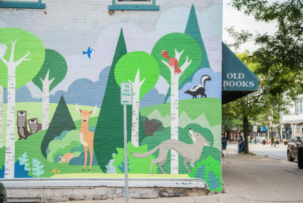 Mural of forest and animals in Plattsburgh, NY