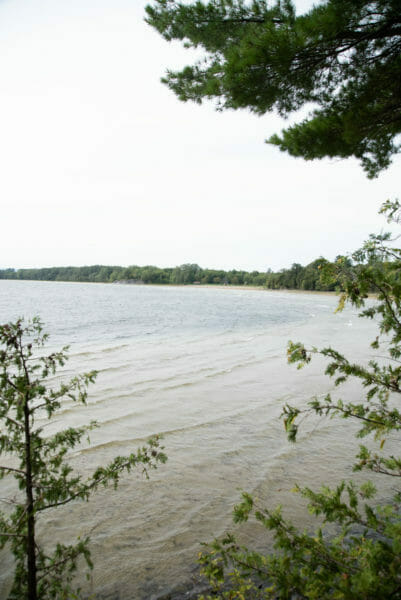 View of Lake Champlain at Point au Roche State Park in Plattsburgh, NY