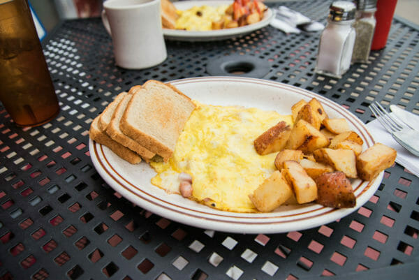 Eggs, potatoes, and toast breakfast at Campus Corner in Plattsburgh, NY