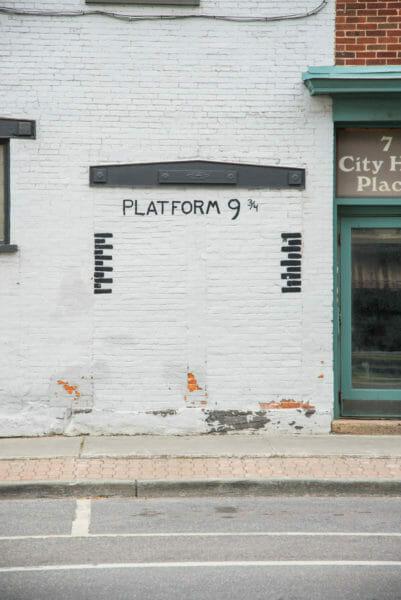 Platform 9 3/4 mural in Plattsburgh, NY