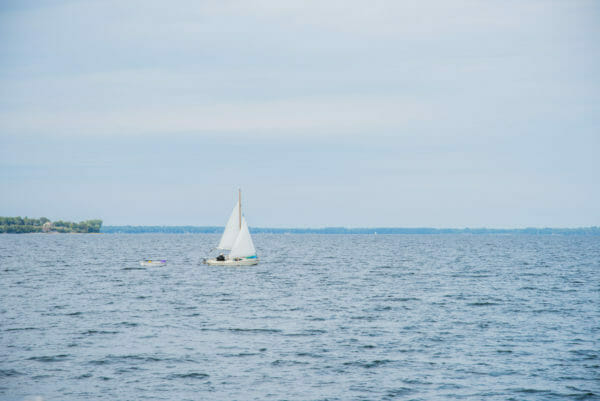 White sailboat on Lake Champlain